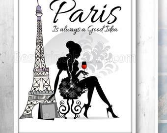 Paris Is Always A Good Idea, Paris Bedroom Decor, Designer Wall Art, Chanel