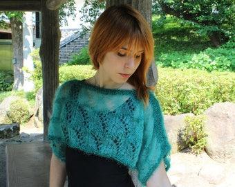 Emerald green wool bolero Handmade lace shrug Transparent  knitted shrug Poncho