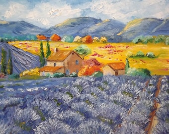 Lavender landscape. Painting lavander field. Home decoration.Textured painting