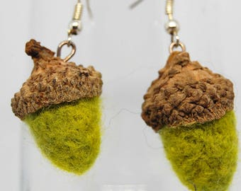 Needle Felt Acorn Earrings