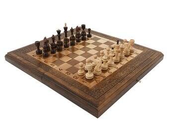 3 in 1 - Walnut Wooden Chess Set - Backgammon - Checker Board - Chess Board - Wooden Chess Box - Walnut Wood - Armenian Handmade