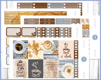 Love Coffee Weekly Kit | March Weekly Kit | April Weekly Kit | May Weekly Kit - Erin Condren Planner Weekly Kit