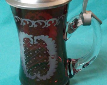 Vintage Rein Zinn Ruby Red Cranberry Etched Glass Stein with Lid