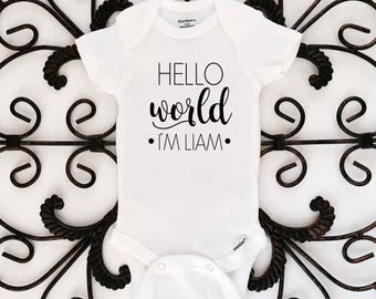 Hello world, newborn bodysuit, name reveal, baby shower gift, personalized bodysuit, baby gift, coming home outfit
