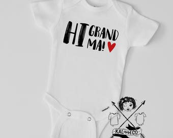 hi grandma, hi grandpa, grandparents, grandma, grandpa, valentine's day bodysuit, baby announcement, grandparents announcement, baby shower