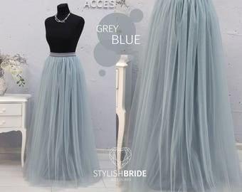 New! Grey Dusty Blue Long Tulle Skirt Casual Floor length Women's, Tulle Skirt Bridal, Princess Women Tulle Skirt,Wedding Long Tulle Skirt