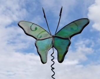 Blue green Turquoise stained glass Butterfly garden stake garden marker plant poke in black patina wide wings handmade