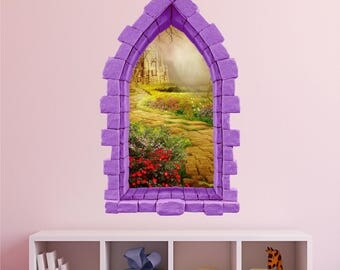 Castle Window Wall Decal, Yellow Brick Road, Nursery Decor, 3D Window,  Decals Part 97