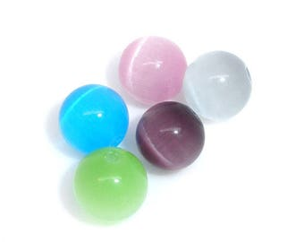 Set of 5 glass beads round cat's eye - multi color - 8mm.