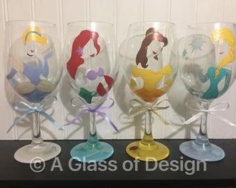 Snow White, Jasmine, Ariel, Disney Princess, Princess, Princess glasses, Princess wine glasses, Snow White glass, Jasmine glass, Ariel glass