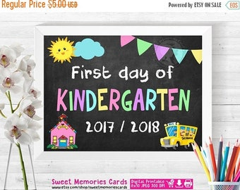 50% OFF SALE First Day of Kindergarten Sign, Chalkboard Sign Printable Photo Prop, 1st First Day of KINDERGARTEN 8x10, Instant Download