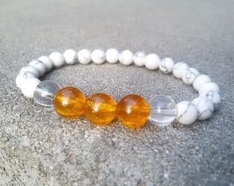 Citrine bracelet Prosperity bracelet Clear Quartz Citrine stretch bracelet Abundance jewelry Howlite Citrine jewelry White beads bracelet