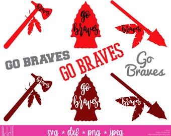 9 Braves SVG - Go Braves - Braves Football - High School or Little League Team - Braves Cutting Files