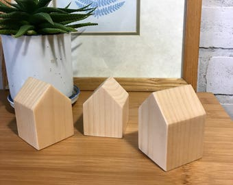 Wooden houses, Small wood house, Natural wood decoration, modern home decor,Christmas decoration, Christmas gift, Hostess gift