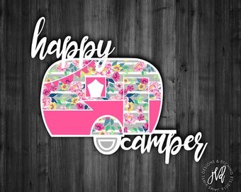 Happy Camper Decal| Camping Decal| RV Decal| Car Window Decal| Tumbler Decal