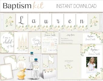 Baptism Girl Kit, Editable LDS Baptism Program, Cupcake Toppers, Water Bottle Wraps, Note Card, Poster Baptism, banner, white flowers