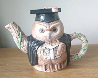 Vintage Owl Teapot Novelty Graduation Teapot Ceramic Teapot, Figurine Teapot, Decorative Teapot, Teapot Collector
