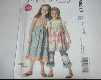 McCall's Sewing Pattern M6313 Girl's Dress Top Belt Ruffle Size 6 7 8