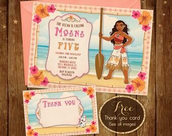Moana Birthday Invitation - Printable Moana Invitation - Disney Moana Invite - Moana Birthday Party Card - 5x7 or 4x6 - Free Thank you Card