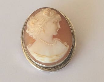 Continental silver 800 hand carved shell cameo brooch or pendant # 562-s