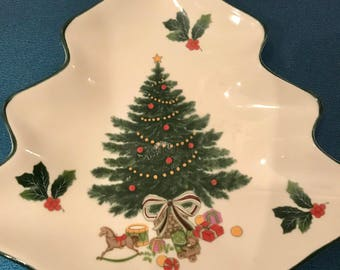 Christmas Vintage Mikasa Serving Dish White Ceramic  Christmas Tree Heritage Cabob Christmas Story