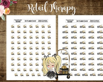 Retail Therapy | Glam Shopping | Glitter | Printable Planner Stickers | Planner Printables | Printable Stickers | Cut File | Blonde|