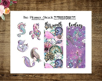 Pocket TN Bookmarks | Die Cuts | Mermaid | Printable Bookmarks | Printable Die Cuts | Travelers Notebook | Planner Die Cuts | Cut File