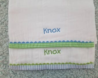 Monogrammed Baby Burp Cloths For Boys