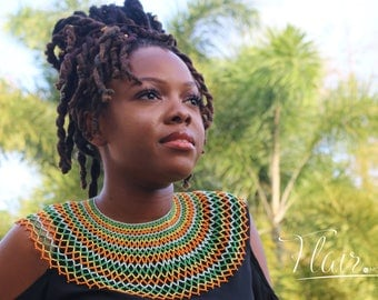 Handmade AfroChic Caribbean Couture necklace in Orange Crush