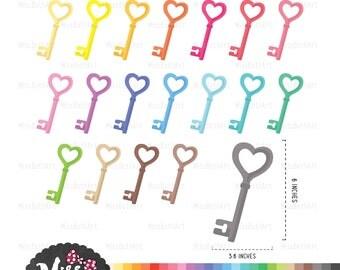 30 Colors Heart Skeleton Key Clipart - Instant Download