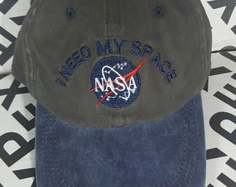 Two tone embroidered nasa 'I need my space' dad hat