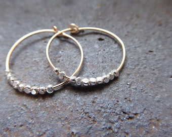 Silver & Gold Hoop Earrings/ Gold Hoops With Faceted Karen Hill Tribe Sterling Silver Beads Gift For Bridesmaids/Wedding/Birthday