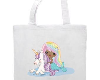 Unicorn and Mermaid Tote Bag 41cm x 38cm. Can Personalise, Cute Pastel colour design, Birthday, Christmas Gift, Mermaids, Unicorns, Mythical