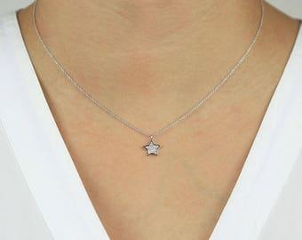 Diamond Star Necklace, Star Pendant Diamond Necklace, 14k Solid Gold Star Diamond Necklace, Minimalist Necklace, Star Pendant Necklace