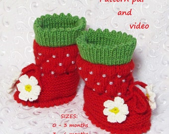 Knitted Booties,baby knitting pattern,warm boots,warm baby booties,crib shoes,baby girls, boys,toddler shoes,baby boots,Booties-strawberries