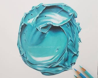 Turquoise Oil Paint Buttercream Frosting Colored Pencil - Art Print by Headspace Illustrations