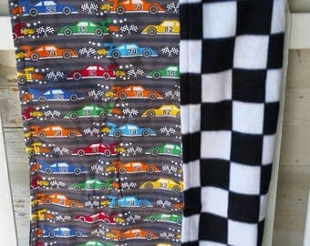 Hotrod, Racecar, Checkered Flag Lap Quilt, Baby Blanket