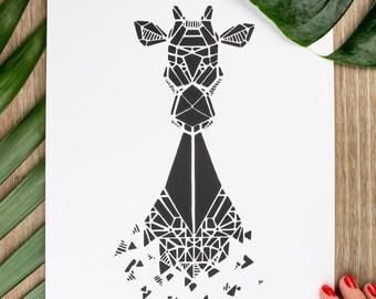 21x30cm - giraffe Zoorigami silkscreen poster