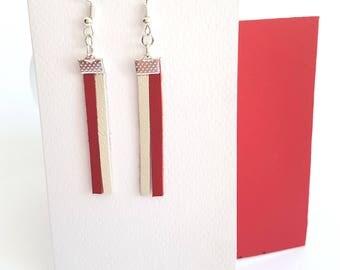 Leather Earrings, Genuine Leather Earrings,Leather Bar Earrings,Dangle Earrings,Bar Earrings,Leather Jewelry,Dangle  Earrings