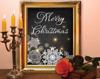 Christmas art print Merry Christmas printable Winter art print Christmas wall art printable Christmas snowflakes printable Holiday art print