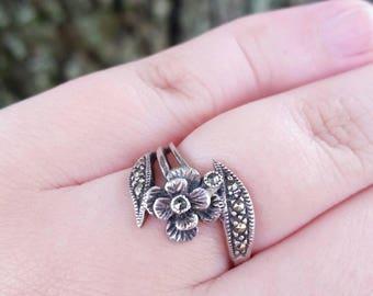 Vintage Sterling Silver Marcasite Flower Ring