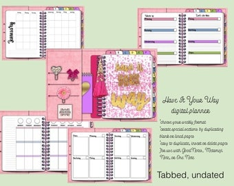 Have It Your Way Pink Suede, for GoodNotes, Metamoji Note, OneNote