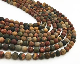 1Full Strand Matte Red Creek Jasper Round Beads 8mm 10mm Wholesale Gemstone For Jewelry Making