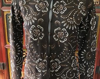 Oscar de la Renta Embroidered and Hand-Beaded Sweater