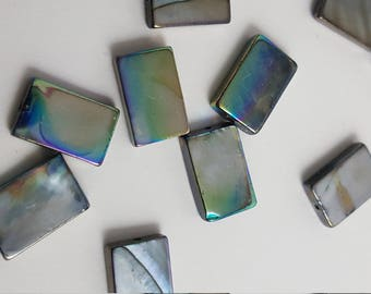 Blue Pearlescent Rectangle Shell Beads 15mm 25pc