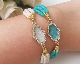 PROMO Hamsa beaded bracelet | mother of pearl hamsa charm bracelet | hamsa evil eye bracelet | turquoise beads jewelry | hamsa hand jewelry