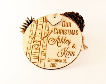 Our Christmas ornament, Just married ornament, Wedding ornament, Newlywed ornament, Mr and Mrs ornament, Wood ornament, Family ornament