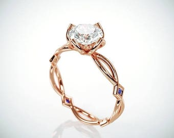 SALE! 14K Rose Gold Moissanite and Blue Sapphire Engagement Ring  | 14k rose gold Forever One Mossanite and Blue Sapphire engagement ring