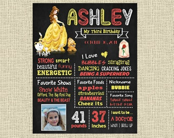 Beauty and the Beast Birthday Chalkboard Poster - Disney Princess Belle Wall Art design - Birthday Party Poster Sign - Any Age