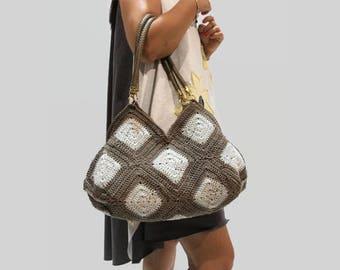 Crochet bag,Gray cotton bag, Granny square purse, summer bag, handmade handbag, crochet cotton bag/ two tones bag/ custom color bag
